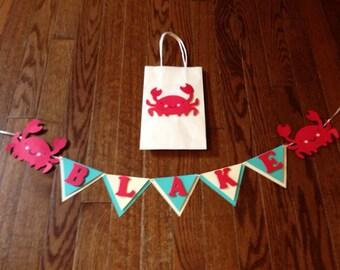 "Mini 30"" custom banner with matching gift bag crab"