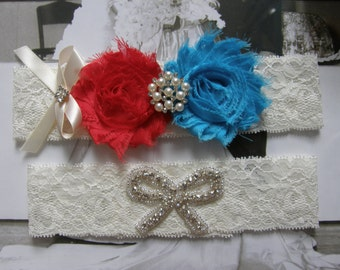 Something Blue / Red & Blue / Wedding Garter / Vintage Inspired / Lace Garter