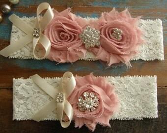 Garter / Blush / Vintage Pink / Ivory / Wedding Garters / Bridal Garter / Toss Garter / Vintage Inspired Lace Garter