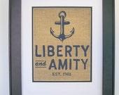 anchor nautical wall art liberty and amity decor sign printed on real burlap