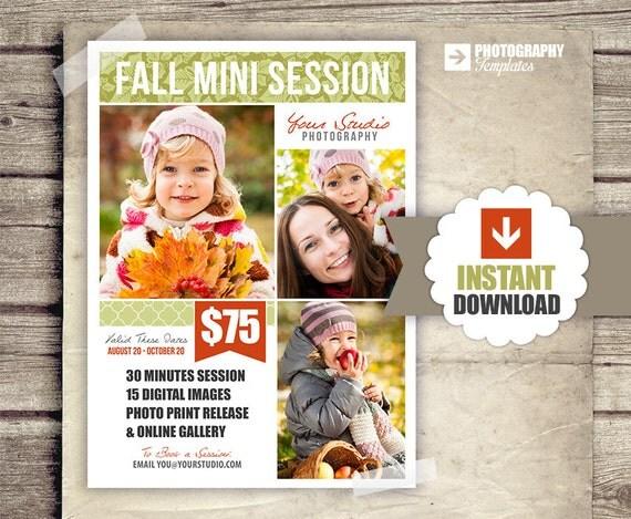 free photography marketing templates - fall photography marketing board 5x7 mini sessions psd