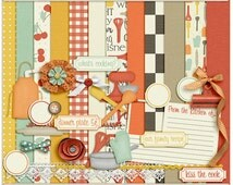 What's Cooking Digital Mini - Digital Scrapbooking Mini Kit for cooking, recipes, in the kitchen, food INSTANT DOWNLOAD