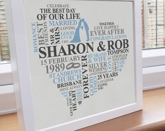 Framed Silver Anniversary Gift. Personalised word art print. Unique typography gift. 25th year of marriage.