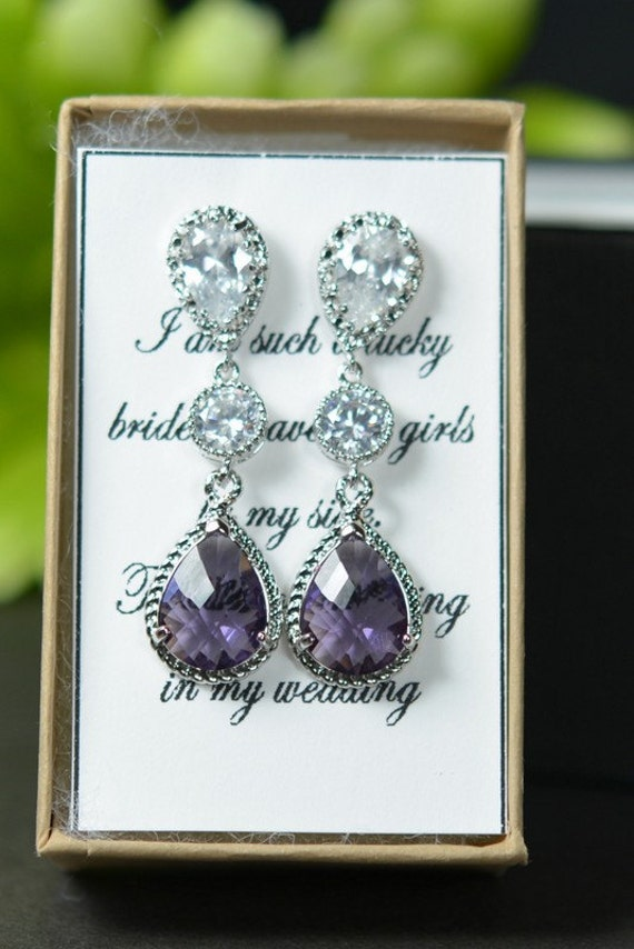 Purple earrings , amethyst purple , eggplant  purple ,Bridal Drop  Wedding Dangle Earrings Bridal Jewelry  Drop Earrings Bridesmaid Gift