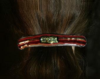 Brilliant and Wild Fused Glass Hair Barrette