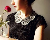 Peter Pan Collar Crochet Silver Metallic