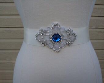 Bridal Sash - Wedding Sash - Wedding Dress Sash - Bridal Sash Belt - Royal Blue Rhinestone Bridal Sash