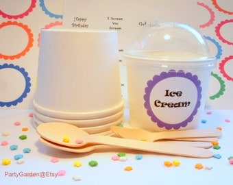 12 White Ice Cream Cups - Large 16 oz