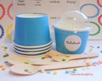 12 Blue Ice Cream Cups - Small 8 oz