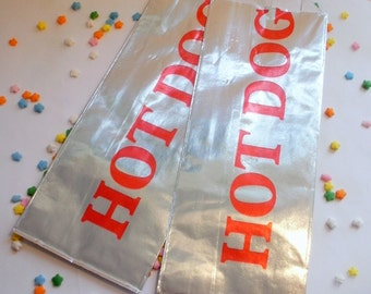 Retro Foil Hot Dog Bags- 40 count