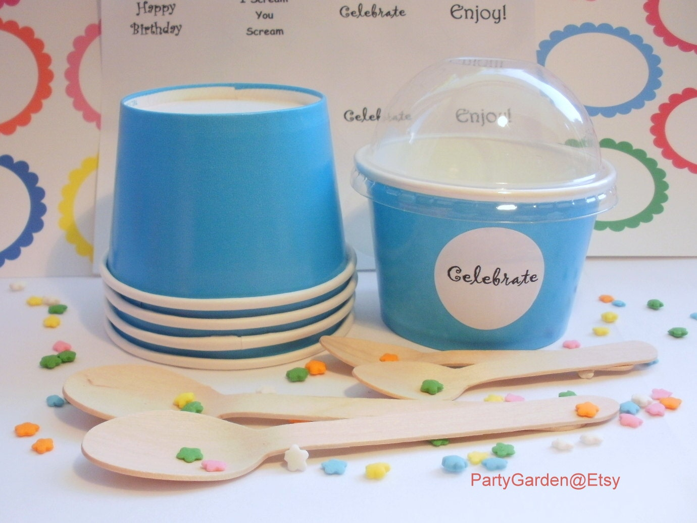 ice cream cups 12 blue cups small 8 oz 30318