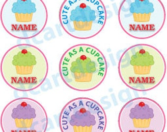 Personalized Cute as a Cupcake Bottle Cap Designs. High Resolution 4 x 6 .jpg
