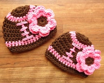 Crocheted Baby Girl Twin Hat Set, Football Hats with Flowers, Pink or White Trim, Twin Girl Baby Gift, Newborn to 24 Months, MADE TO ORDER