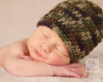 Crocheted Baby Boy Hat, Baby Boy Camo Hat, Camouflage Crocheted Baby Beanie - Camouflage - Newborn to 5T - MADE to ORDER