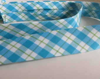 Bias Tape Cotton Bias Binding Blue and Green Gingham Single folded Fita de Viés