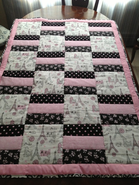 Paris Quilt Effiel Tower Quilt Baby Blanket Baby Quilt