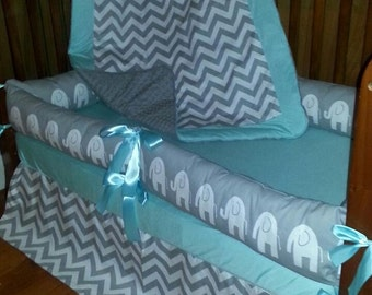 24 HR SALE***Gray and White chevron/elephant with solid crib bedding (4 piece set on sale only)
