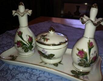 Porcelain Dresser Set ROSE PATTERN Reduced