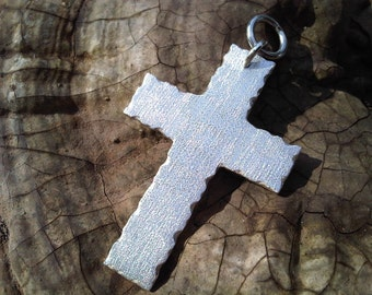 Handmade Silver CROSS pendant - mens silver cross - satin brushed - 925 sterling silver - religion - woman jewelry