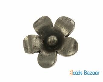 Karen Hill Tribe silver Jasmine Flower Charm, 15 mm ( 4 pieces )