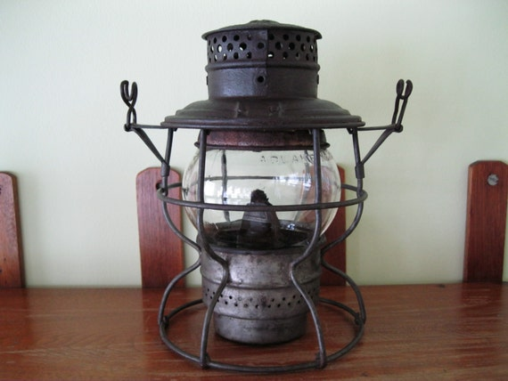 sale vintage b o railroad oil kerosene lantern adlake. Black Bedroom Furniture Sets. Home Design Ideas