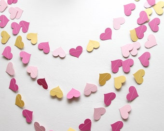Light pink, dark pink, and gold paper heart garland, wedding, party, decoration