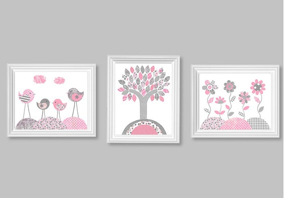 Kinderzimmer Grau Rosa : Pink and Gray Nursery with Tree