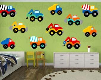 Construction Truck Decal - Truck Wall Decal - Fabric Wall Art - Children Wall Decals - Repositionable Wall Decals