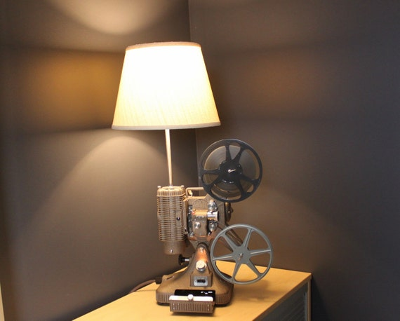 Vintage Hollywood Movie Projector - Table Lamp - White Shade
