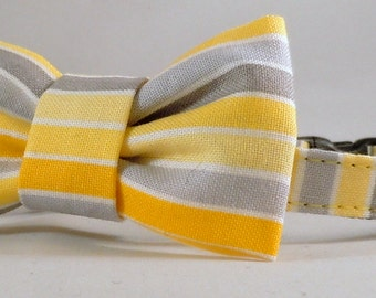 Cat Collar or Kitten Collar with Flower or Bow Tie - Grey Matters