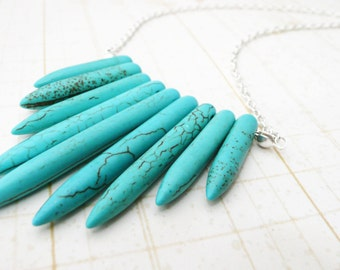 Necklace, Silver and turquoise spike necklace