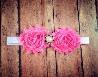 Pink Shabby Headband w/ Embellishment