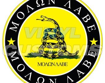 Molon Labe Vinyl Decal Sticker Gadsden Flag