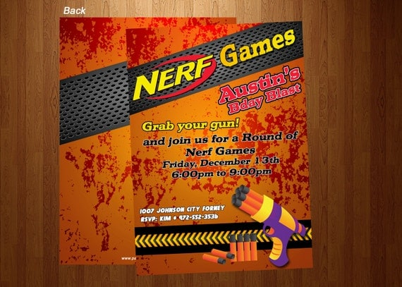 Free Printable Nerf Birthday Invitations ~ Nerf wars birthday party invitations printed personalized images frompo