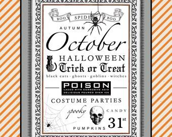 October Subway Art. Halloween Printable. Instant Download.