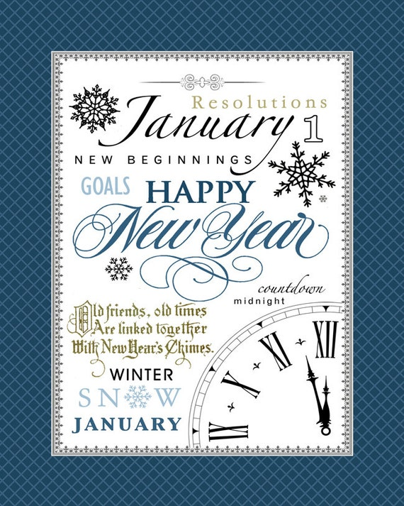 January Subway Art. New Year's Printable. Instant
