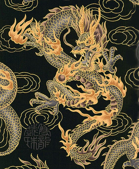 Fire Breathing Dragons Asian Japanese Fabric By The Yard