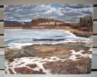 Original Landscape Oil Painting-Thawing Lake