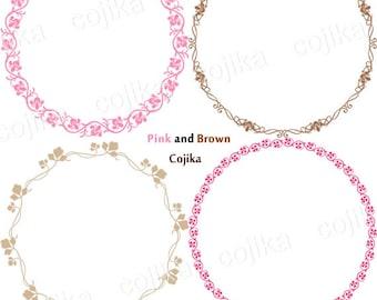 Leaf Circle Frames, Digital Round Frames, Pink and Brown, Clipart, 4 designs, V013