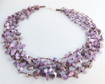 Amethyst Necklace - Amethyst Chip Stone Multi Strand Necklace