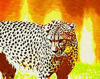 Cheetah art: cheetah painting on canvas 16x24 African art Africa print on canvas leopard print
