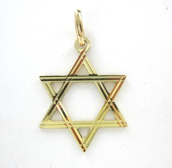14kt yellow gold pendant star of david by morningstarsjewelers for Star hallmark on jewelry