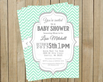 Vintage Mint Chevron with Gray Baby Shower Invitation, Custom Digital File, Printable