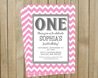Trendy Pink Chevron First Birthday Invitation, One, Custom Digital File, Printable