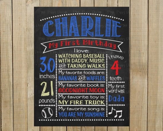 Custom Chalkboard Baseball Birthday Sign, Multiple Sizes Available, Printable, Custom Digital File