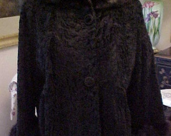 Vintage Black  Fur Broadtail Jacket with Mink Rolled  Collar and Cuffs 1960s, Lovely, 2194