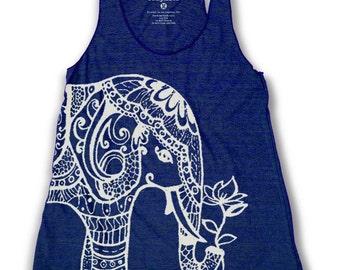 Ethnic Elephant Print Women's Racerback Tank Top