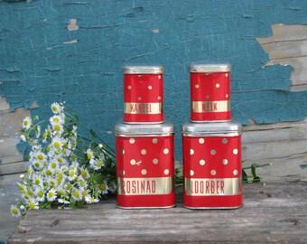 Soviet red vintage metal tin boxes for kitchen - Set of four new boxes - Soviet vintage