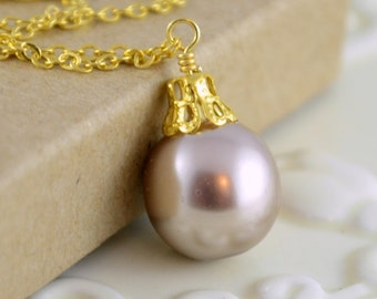 Taupe Necklace, Christmas Ornament Jewelry, Gold Plated, Glass Pearl, Wire Wrapped