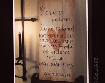1 Corinthians 13 wooden painted sign